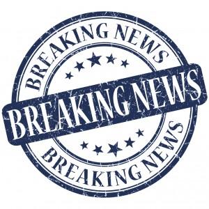 Breaking news grunge blue round stamp